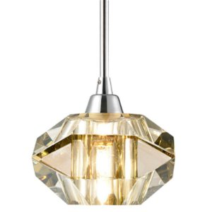 Pendente Aço Cromado - Cristal Conhaque +Luz PE-012/1.12CO