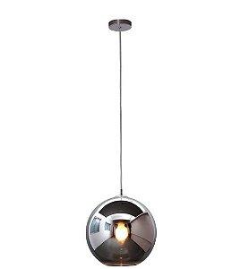 Pendente Aço e Vidro Fumê 40x38x200cm 1xE27 60W Cromado Mais Luz PE-001/1.40PR