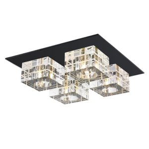 Plafon Aço - Vidro Preto, Cristal Translúcido Mais Luz PL-014/4.30PT
