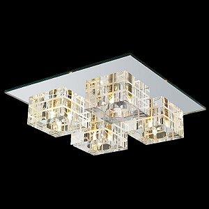 Plafon Aço - Vidro Espelhado - Cristal Translúcido Mais Luz PL-014/4.30EP