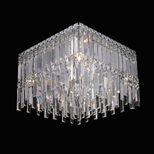 Plafon Aço Cromado - Cristal Translúcido Mais Luz PL-019/6.40CL