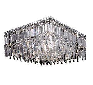 Plafon Aço Cromado Cristal Translúcido 60x60x28cm 9xG9 40W Mais Luz PL-019/9.60CL