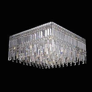 Plafon Aço Cromado - Cristal Translúcido Mais Luz PL-019/9.60CL