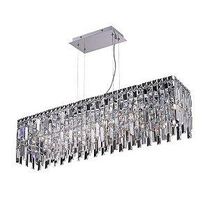 Pendente Aço e Cristal Translúcido 14x14,5x200cm 1xG9 40W Cromado Mais Luz PE-019/8.90CL