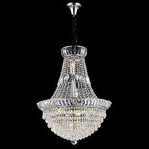 Lustre Aço Cromado - Cristal Translúcido + Luz LU-031/10.60CL