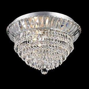 Plafon Aço Cromado - Cristal Translúcido Mais Luz PL-031/5.46CL