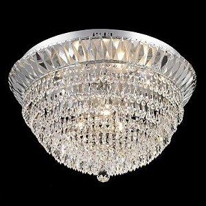 Plafon Aço Cromado - Cristal Translúcido Mais Luz PL-031/9.60CL
