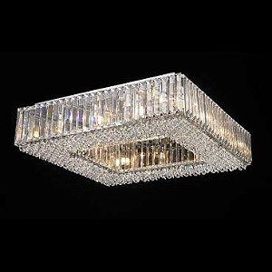Plafon Aço Cromado - Cristais Translúcido Mais Luz PL-036/12.60CL