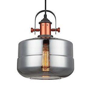 Pendente Vidro Fumê - Aço Bronze Mais Luz PE-041/1.25SMBRO
