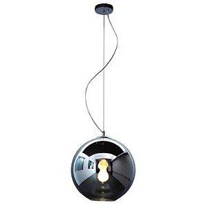 Pendente Aço e Vidro Fumê 35x33x200cm 1xE27 60W Cromado Mais Luz PE-001/1.35PR