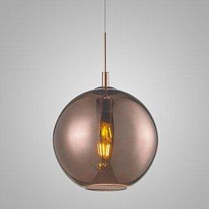 Pendente Aço e Vidro 25x23cm 1xE27 60W Cor Bronze Mais Luz PE-001/1.25BRO
