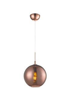 Pendente Aço e Vidro 18x17x200cm 1xE27 60W Cor Bronze Mais Luz PE-001/1.18BRO