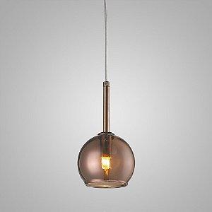 Pendente Aço e Vidro Fumê 12cmx8,5cm 1xG9 40W Cromado Mais Luz PE-001/1.12BRO