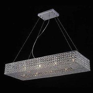 Pendente Aço Cromado - Cristal Translúcido + Luz PE-022/10.81CL