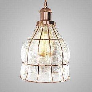 Pendente Vetro - Vidro Translúcido/Aramado Ouro Rosé Mais Luz PE-070/1.17OR
