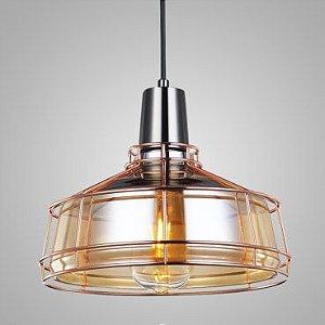 Pendente Shiny Vidro Conhaque/Aramado Ouro Rosé Mais Luz PE-084/1.26COOR