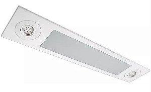 Luminária Embutir Mix Retangular 2 Tubular T8 + 2 PAR16/Dicroica 92x18cm Metal e Acrílico Impacto MD220-E