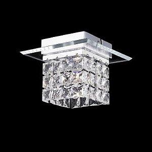 Plafon Aço Cromado, Vidro Cristal Translúcido Itamonte PL-001/1.16C