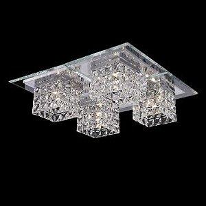Plafon Aço Cromado Vidro e Cristal Translúcido 40x40X17,5cm 4xG9 40W  Itamonte Imp PL-001/4.40C