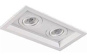 Luminária Embutir Recuado Chanfrado Retangular Duplo PAR16/Dicroica 27x15,5cm Metal Impacto 1040/2