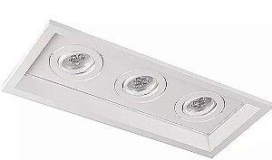 Luminária Embutir Recuado Chanfrado Retangular Triplo PAR16/Dicroica 39x17cm Metal Impacto 1040/3