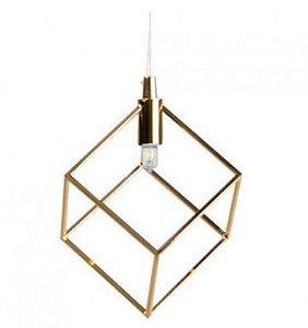 Pendente Cubo Metal 11x11x11cm Dourado Quality PD937-DO