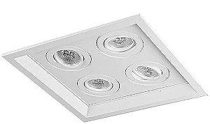 Luminária Embutir Recuado Chanfrado Quadrado Quádruplo PAR16/Dicroica 27x27cm Metal Impacto 1040/4