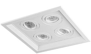 Luminária Embutir Recuado Chanfrado Quadrado Quádruplo AR70 27x27cm Metal Impacto 1042/4