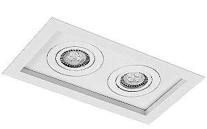 Luminária Embutir Recuado Micro Borda Retangular Duplo PAR16/Dicroica 21x11,5cm Metal Impacto 1010/2