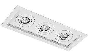 Mix Face Recuada de Embutir em Alumínio Injetado MR16  3XGU10 37,5x15,5cm Impacto 1010/3