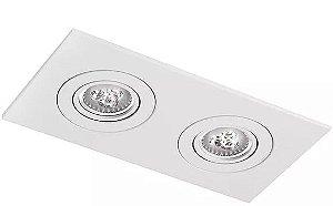 Luminária Embutir Face Plana Retangular Duplo PAR16/Dicroica 25x13cm Metal Impacto M552