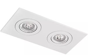 Luminária Embutir Face Plana Retangular Duplo AR111 33x17cm Metal Impacto M112-2