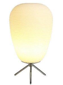 Abajur Cotton Ø22X41cm 1XE27 Cor Cromado e Branco Bella Iluminação AC009