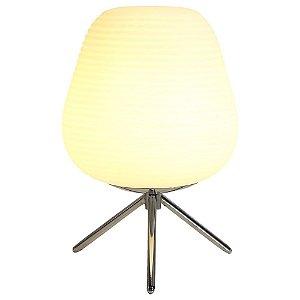 Abajur Cotton ø20X30cm 1XE27 Cor Cromado e Branco Bella Iluminação AC010