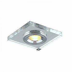 Spot Embutir Quadrado Metal MR11 Cor Cromado e Transparente Bella Iluminação YD1044