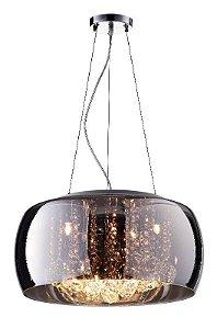 Pendente Plafon Soho Vidro 50cmx20cm 6xG9 Cor Cromado e Transparente Bella Iluminação PD001CR