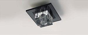 Plafon Dagda Quadrado Cristal e Vidro Transparente e Preto Stella SD7510