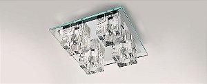Plafon Quadrado Cristal e Vidro Transparente Stella SD7540