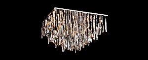 Plafon Quadrado Cristal Transparente e Champanhe  Stella SD7025