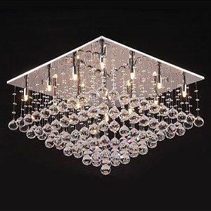 Plafon Aço Cromado, Cristal Translúcido Itamonte PL-016/16.60CL