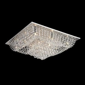 Plafon Aço Cromado, Cristal Translúcido Itamonte Imp PL-018/12.65CL