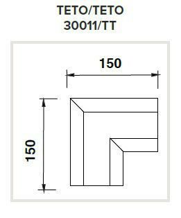 Junção Teto/Teto Sistema de Embutir Linear Linha Infinity  150x150mm Usina 30011/TT