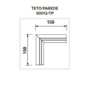 Junção Teto/Parede Sistema de Embutir Linear Linha Infinity 150x150mm Usina 30012/TP