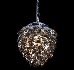 Pendente em Metal e Cristal Nut 23cmX28cm 2XG9 Cor Âmbar e Cromado Bella Iluminação HU2173A