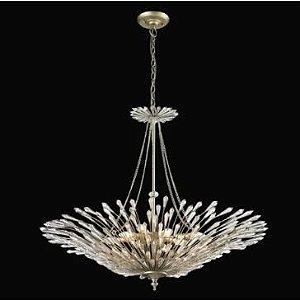 Pendente Decô 66cm 6XE14 Cor Prata Envelhecida e Transparente Bella Iluminação BO001