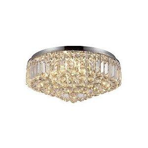 Plafon Kri em Metal e Vidro 54cmx26cm 9xG9 Cor Cromado e Transparente Bella Iluminação HU1104