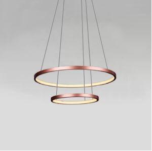 Pendente Anéis em Metal Cobre 50CM LED 20W+15W 3000K Montreal Branco Quente Quality QPD1301-CO