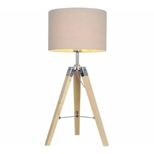 Abajur Pillar Tecido e Madeira 67,5x45cm 1xE27 Cor da Cúpula Bege Detalhes Cromado Quality AB992-MD