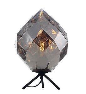 Abajur Vidro/Metal 25x37cm 1xe27 40w Cromado Quality AB1190-CR