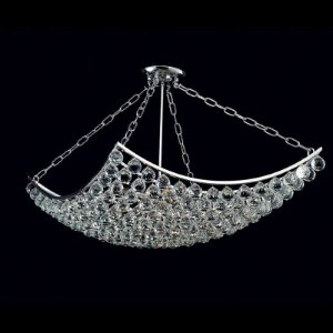 Lustre Eze Cristal 105x60x60 8XE14 Cor Cromado e Transparente Bella Iluminação AQ004L